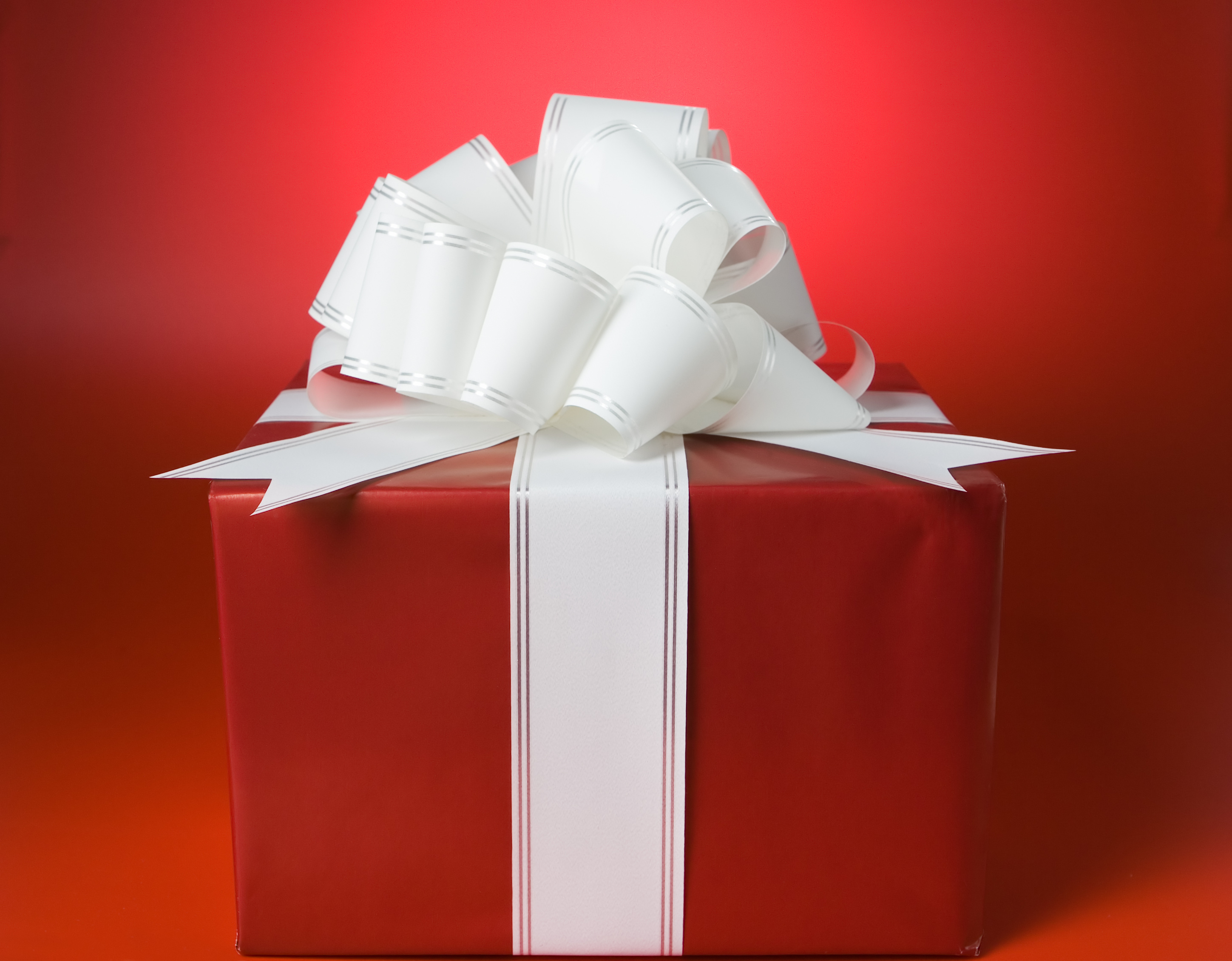 red box gift with ribbon and bow