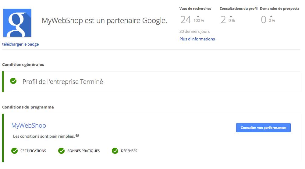 MyWebShop est Google partner